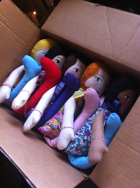 Group of Dolls ready to be shipped by Hen and Chick
