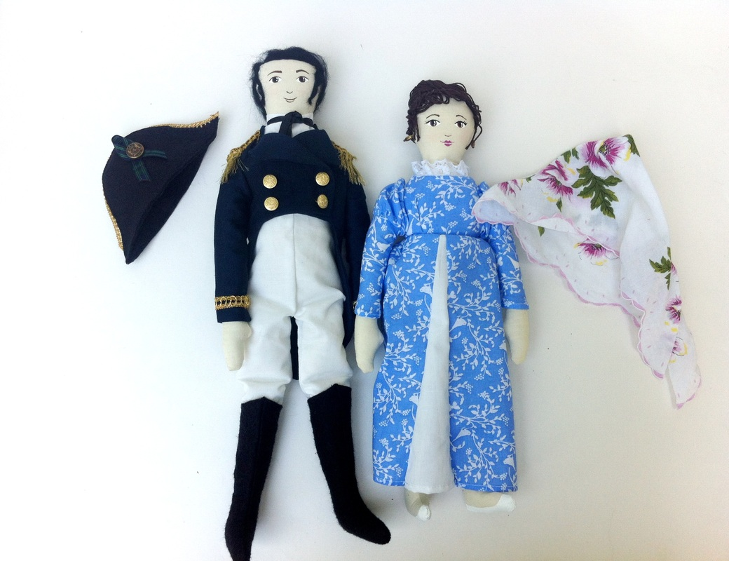 Jane Austen Persuasion Anne Elliot and Captain Wentworth Art Dolls by Hen and Chick