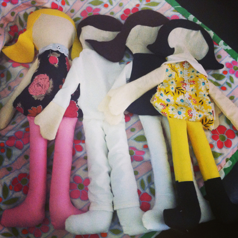 In-progress dolls by Hen and Chick