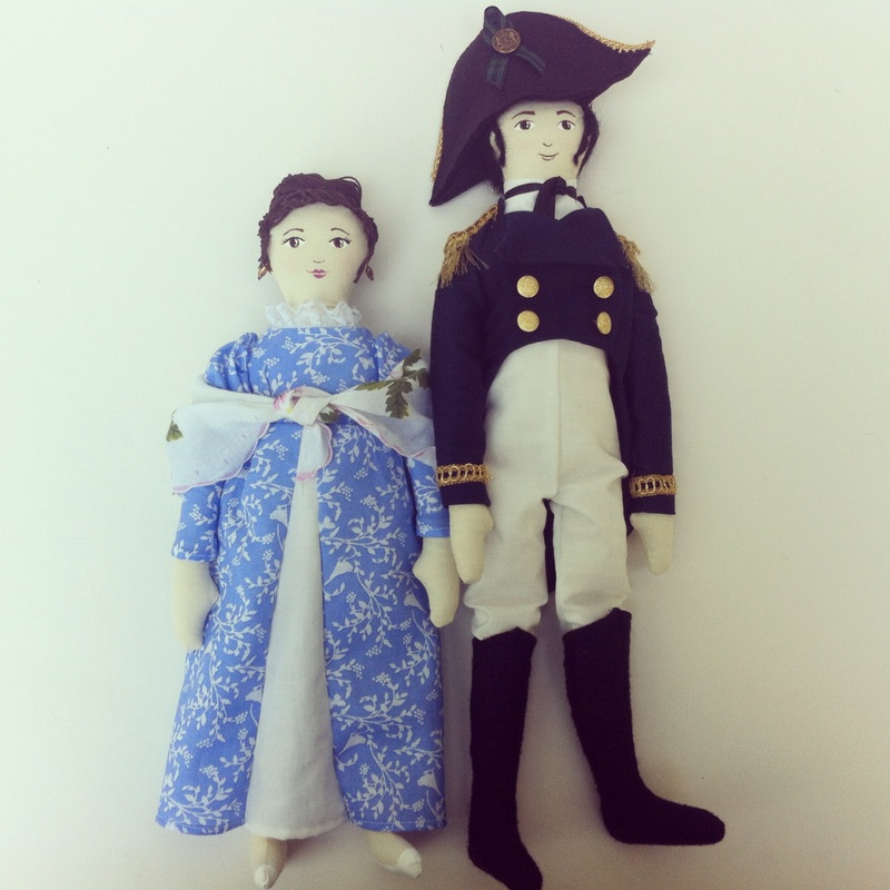 Jane Austen Art Dolls by Hen and Chick - Anne Elliot and Captain Wentworth from Persuasion