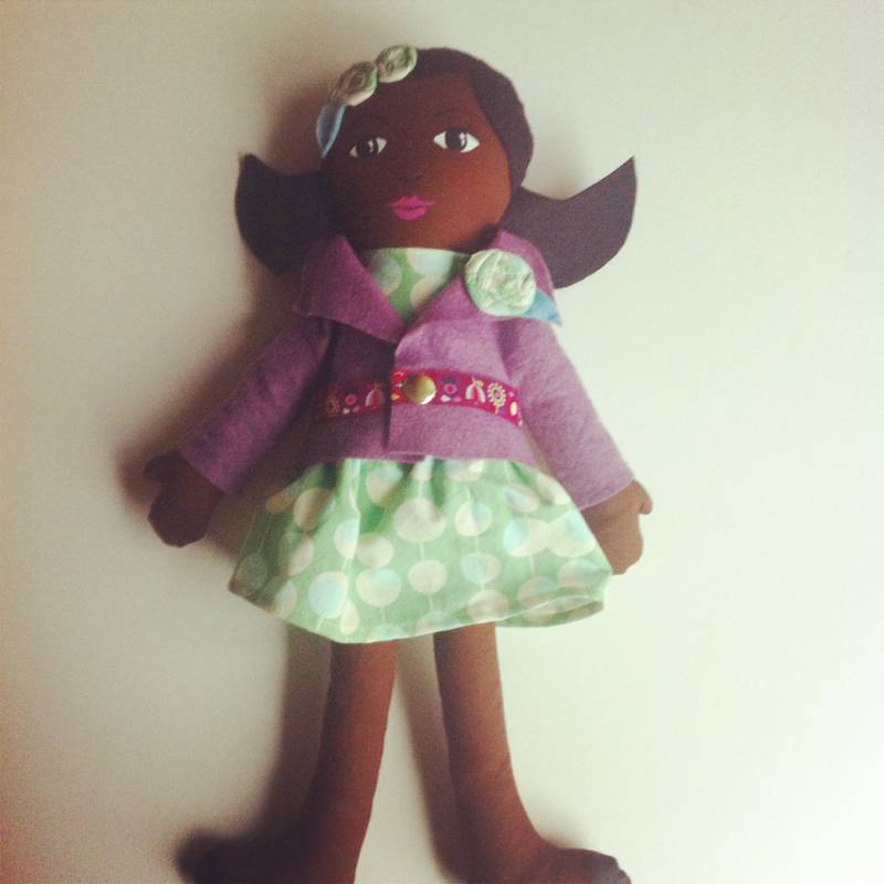 black doll handmade cloth doll