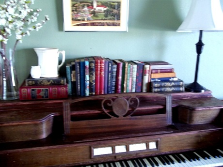 vintage piano and vintage books